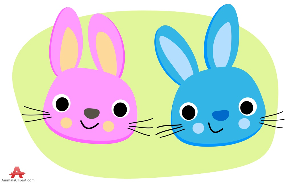 Blue and Pink Rabbits Clipart.