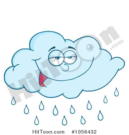 Cloud Clipart #1056432: Pleased Blue Rain Cloud by Hit Toon.