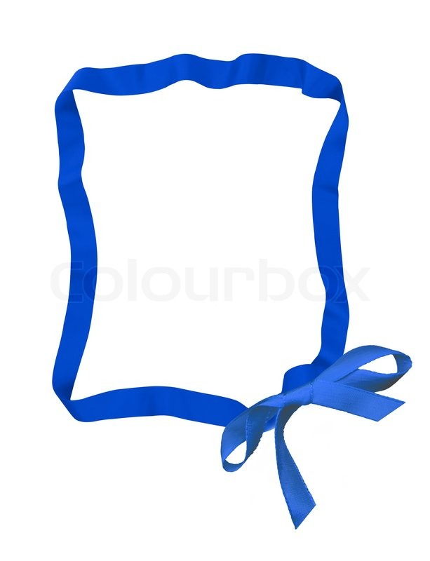 Blue ribbon bow frame with copy space.