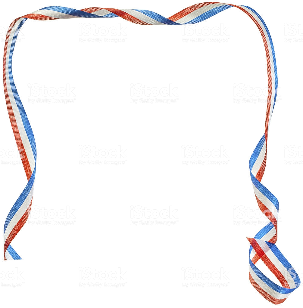 Red White And Blue Ribbon Border Isolated Stock Photo.