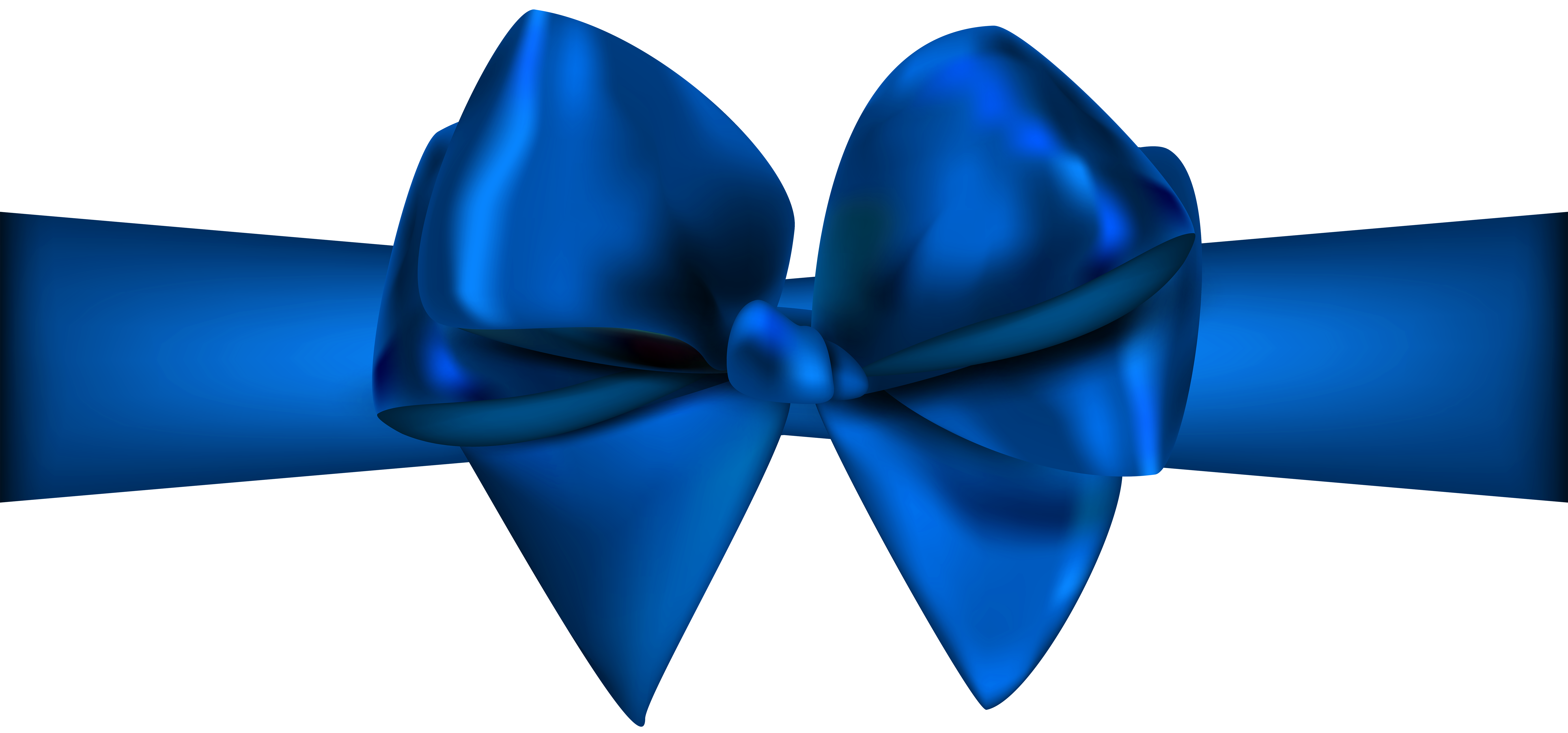 Blue Ribbon with Bow PNG Clip Art.