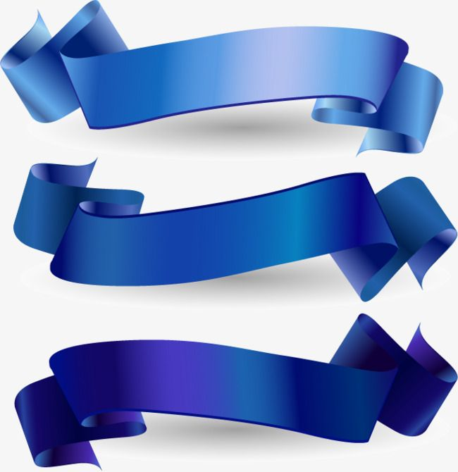 Blue Ribbon Banner Vector Material, Blue, Ribbon, Light.