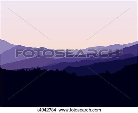 Clipart of Blue Ridge Mountains Landscape k4942784.