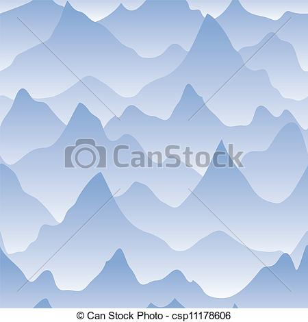 Vector Clipart of Scenery with mountain ridges and fog. Seamless.
