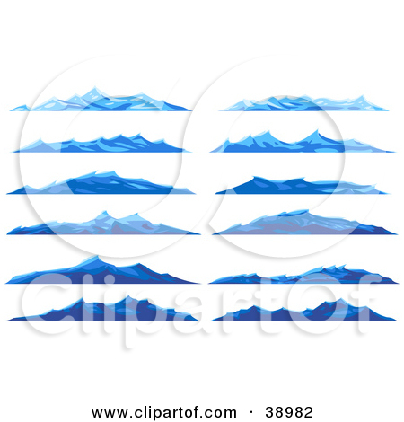 Ocean and mountains clipart #5