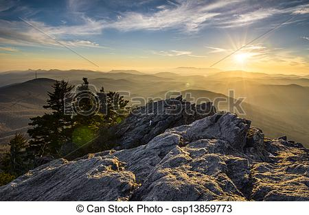Picture of Grandfather Mountain Appalachian Sunset Blue Ridge.