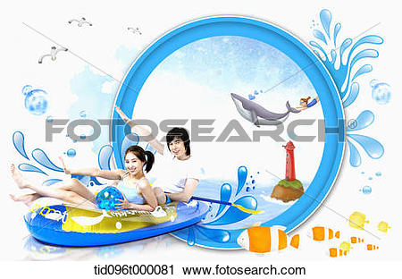 Clipart of a couple with a rubber boat tid096t000081.