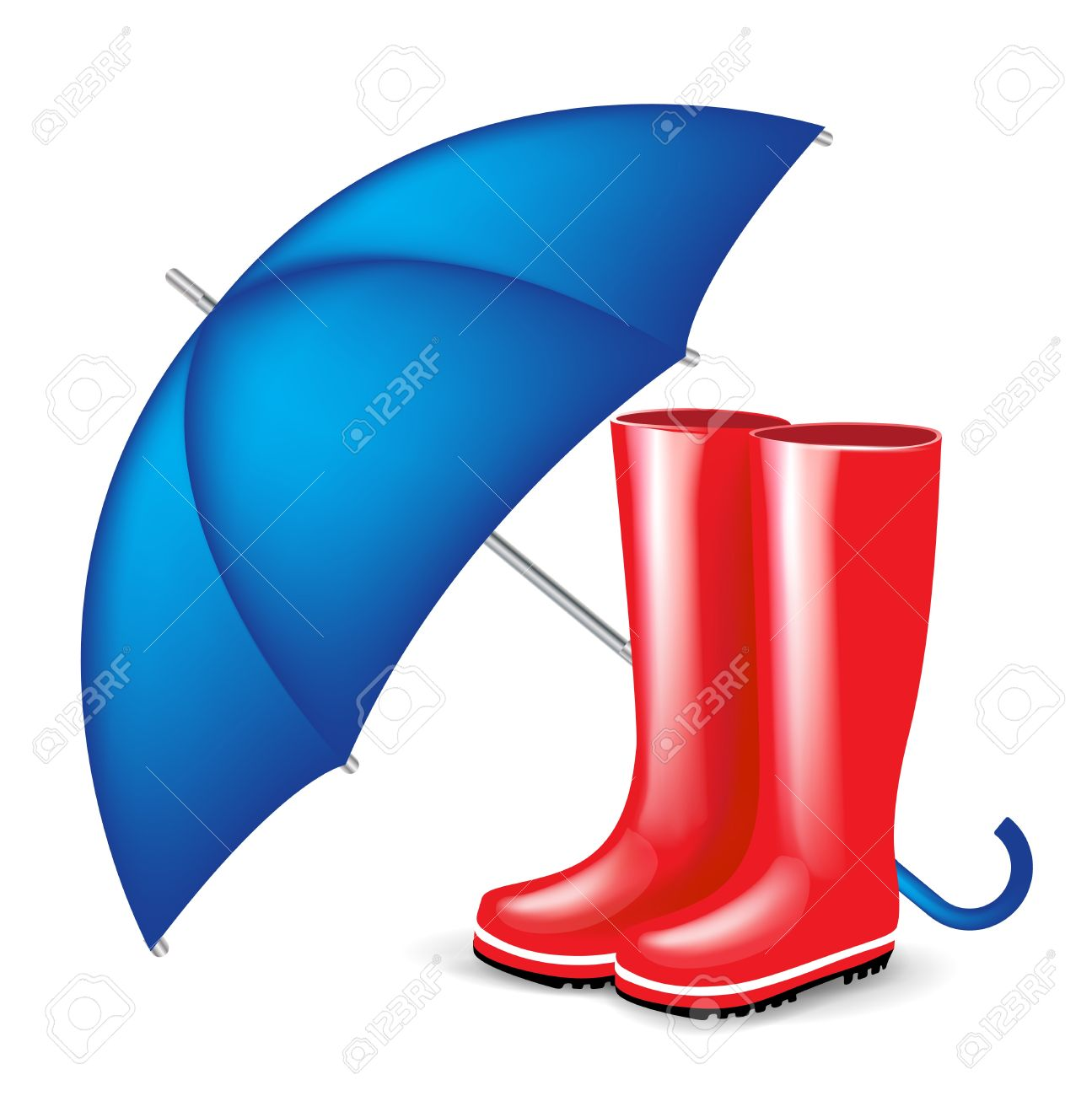 Red Rubber Boots With Blue Isolated Royalty Free Cliparts, Vectors.
