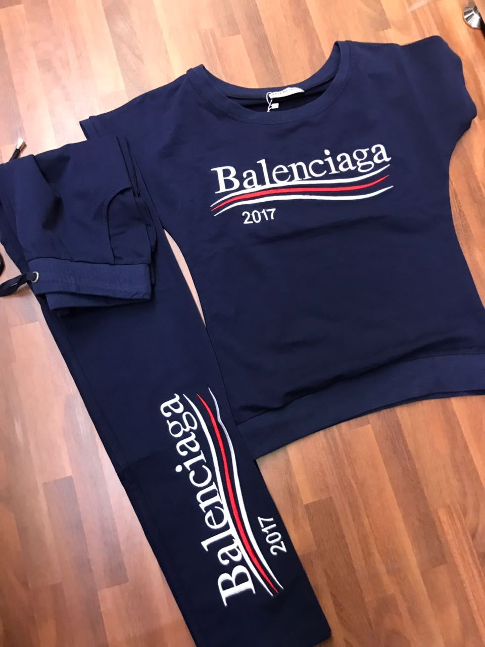 Balenciaga Women Clothes Dark Blue Color , Red & White Line.