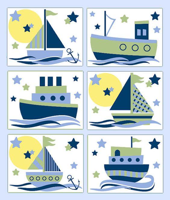 NAUTICAL NURSERY PRINTS Sailboat Wall Art Boy Blue Sage Green Room.