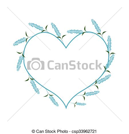 Vector Illustration of Blue Sage Flowers in A Heart Shape.