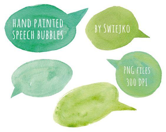 Watercolor Clip Art, Speak Bubble,digital clipart, Speech bubbles.