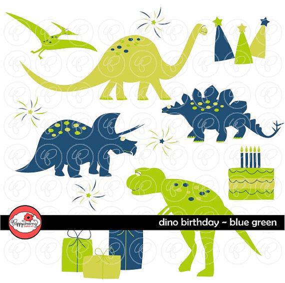 Dino Birthday Blue & Green: Clip Art Pack 300 dpi transparent.