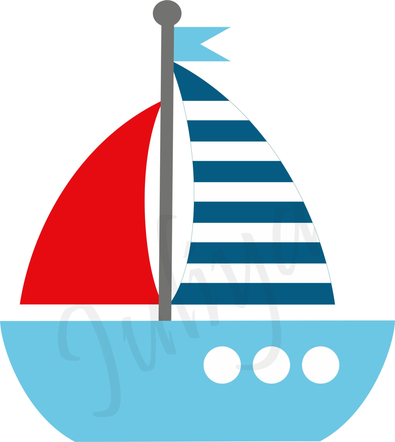Sailboat clipart red and blue pencil in color sailboat.