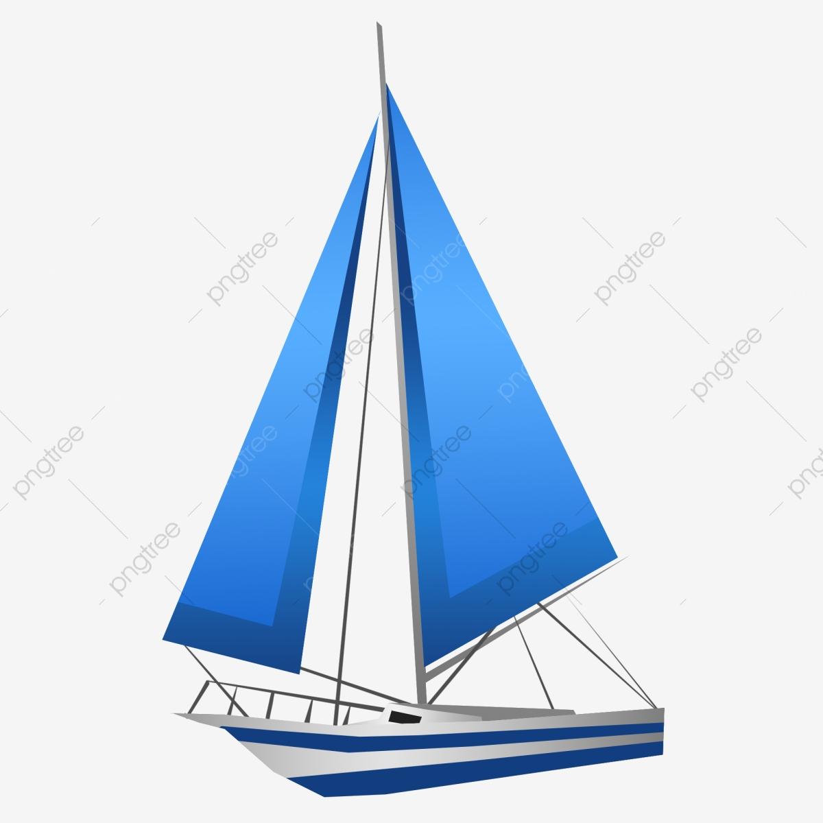 Cartoon Sailboat Blue Sailboat Illustration Blue Sail Start Sailing.