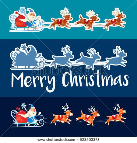 Santa Claus Christmas Gifts His Sleigh Stock Vector 120646579.