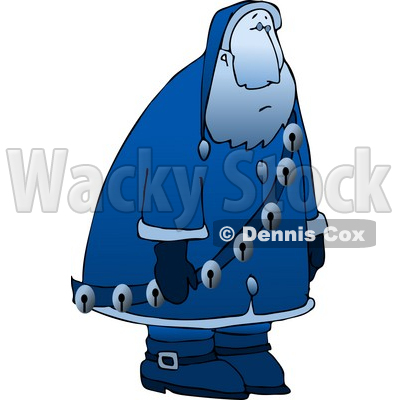 Illustration of a Sad, Depressed, Blue Santa Claus Moping Around.