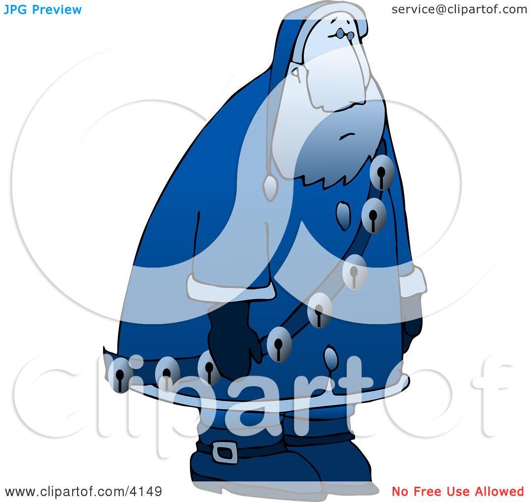 Clipart Illustration of a Sad, Depressed, Blue Santa Claus Moping.