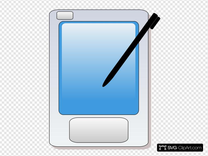 Pda With Blue Screen And Stylus Clip art, Icon and SVG.