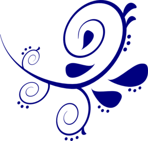 Dark Blue Scroll Clipart.