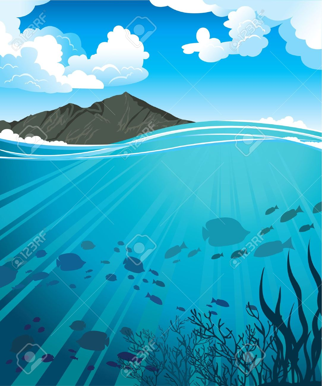 Ocean and mountains clipart #7