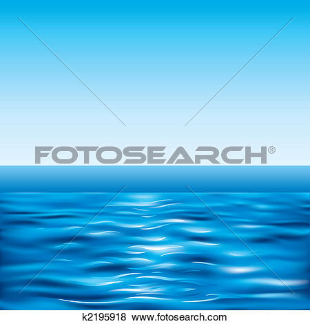 Clip Art of Blue Sea And Clear Sky k2195918.