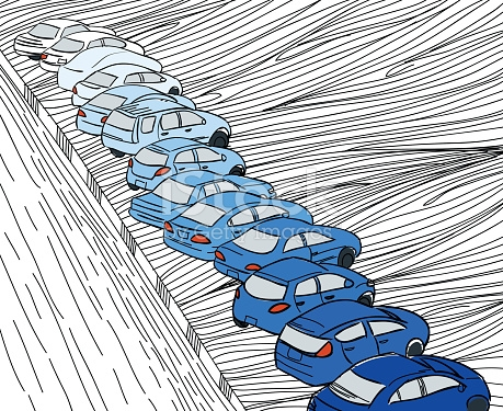 Blue Shade Cars Parking In Parking Zone Outline Hand Draw stock.