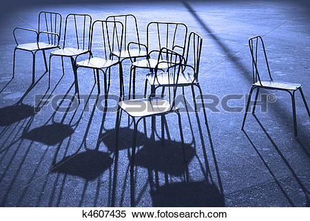 Stock Illustration of Chairs and blue shadows k4607435.