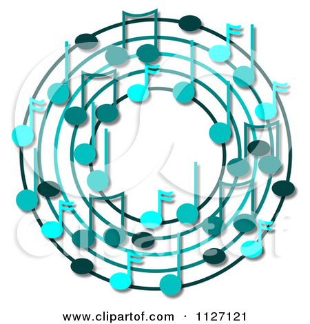 Cartoon Of A Ring Or Wreath Of Blue Music Notes With Shadows.