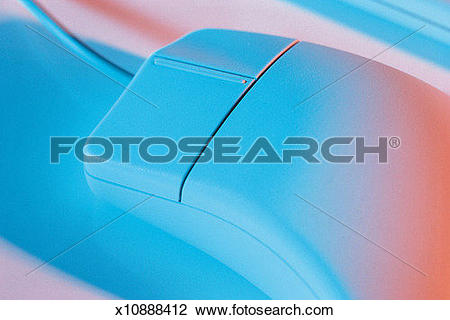 Stock Photo of a computer mouse has blue and red light cast on it.