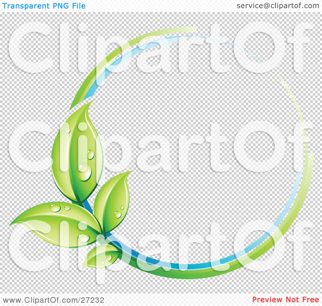 Clipart Illustration of a Green Plant With Dew Covered Leaves.
