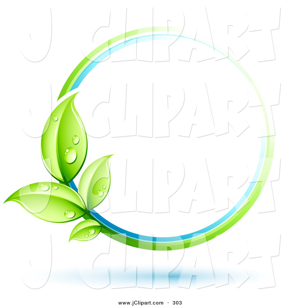 Vector Clip Art of a Green Plant with 4 Dew Covered Leaves.