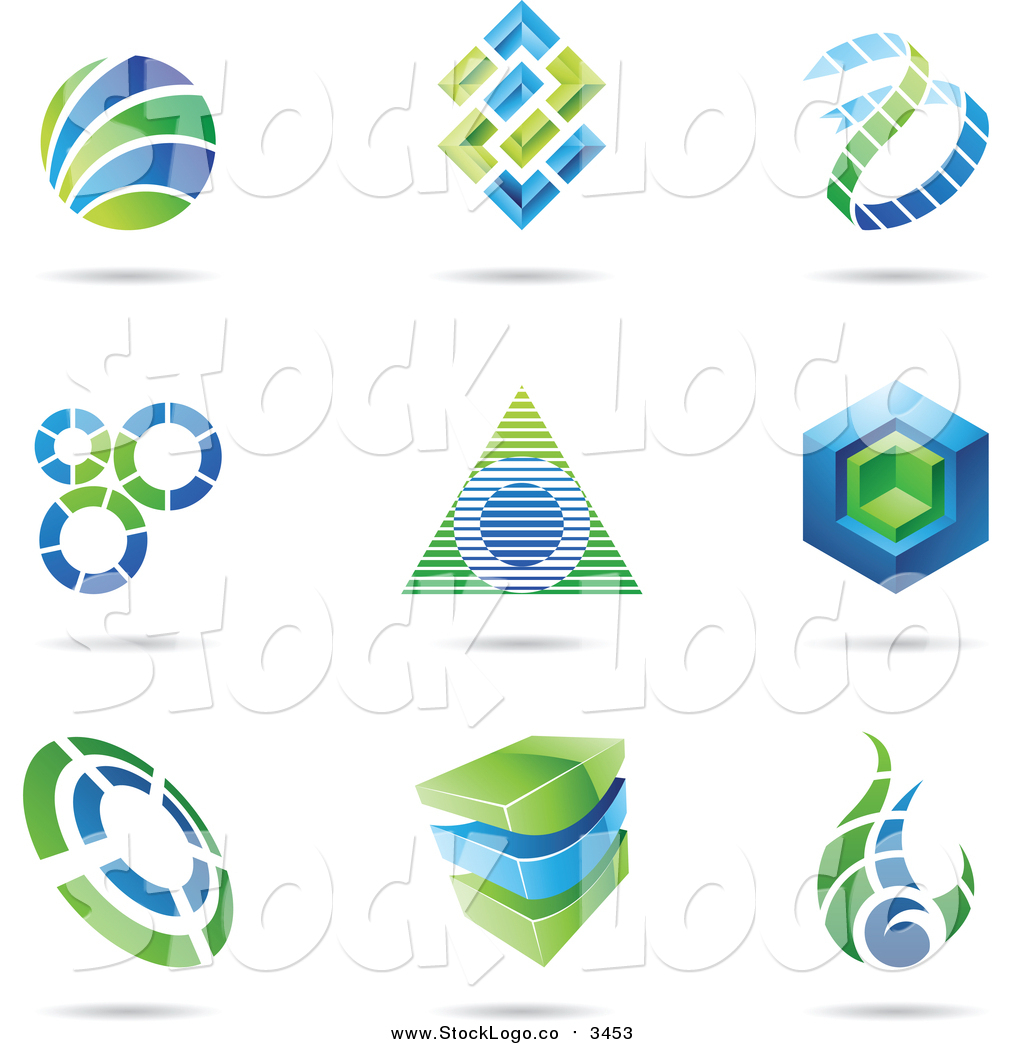Vector Clipart of Blue and Green Logos with Shadows by cidepix.