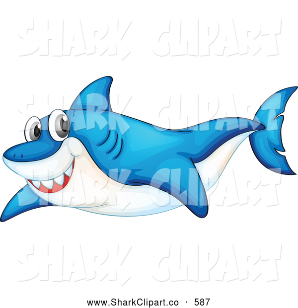Clip Art of a Cute Blue Shark Swimming Through the Ocean by.