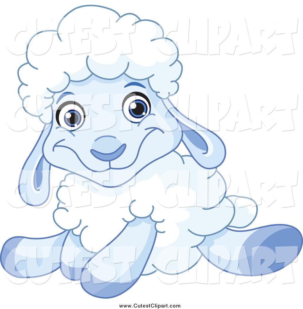 Cartoon Vector Clip Art of a Sitting Cute Blue Lamb by yayayoyo.