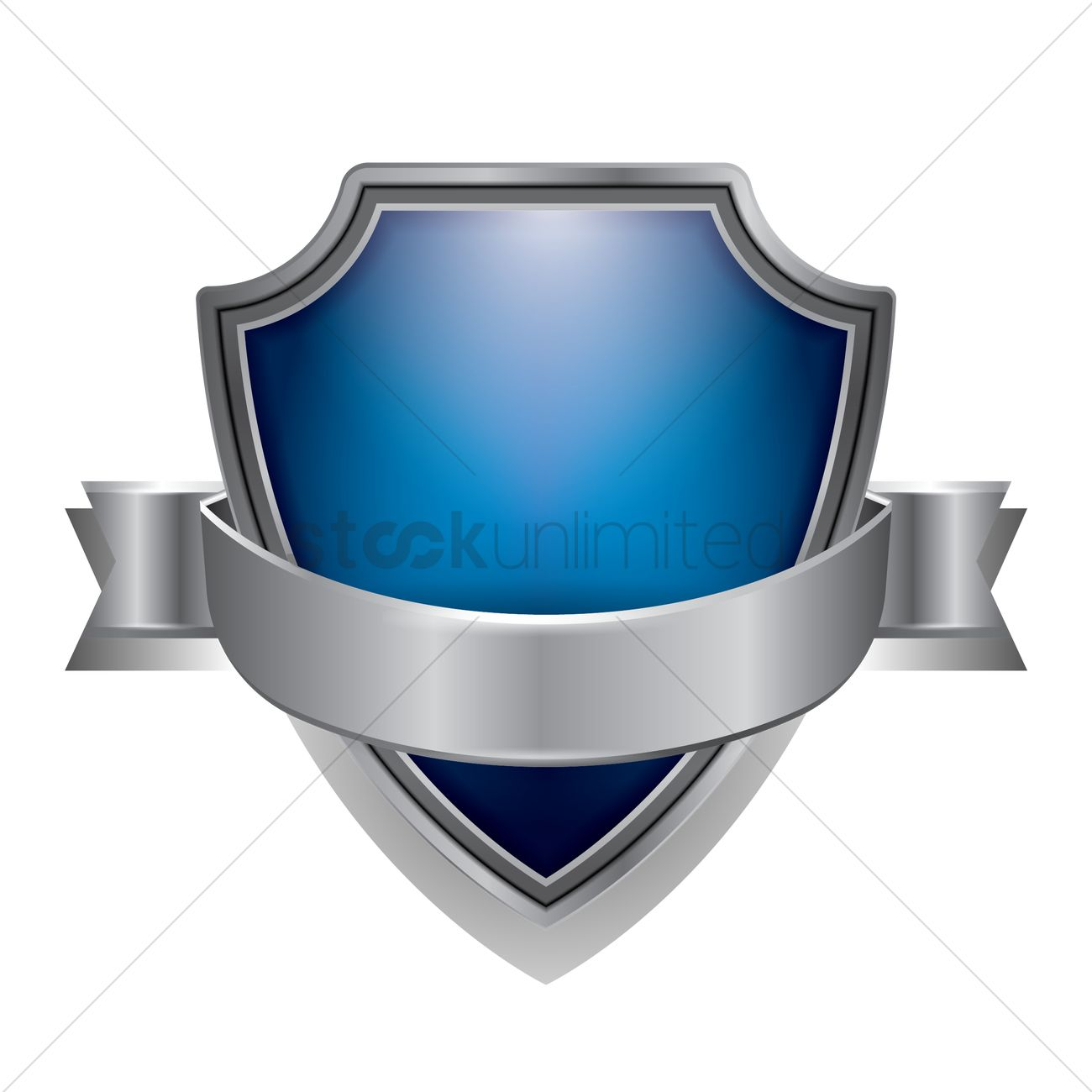Blue shield emblem Vector Image.