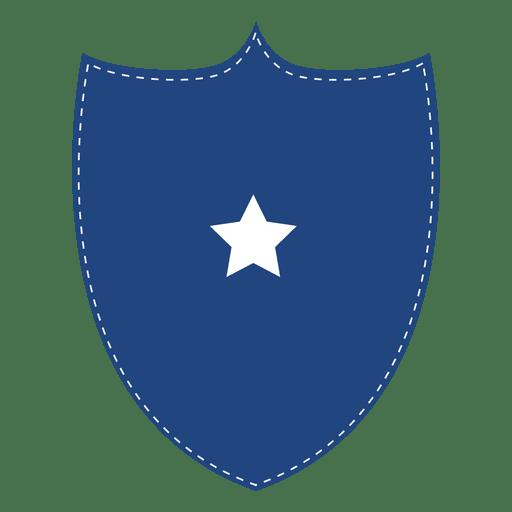 Blue shield badge.
