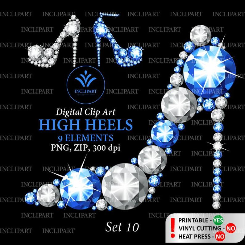 High heel shoes clipart. Silver, white, dark blue diamond, rhinestone shoe  clip art. Ladies party clipart. Instant download PNG Business use.