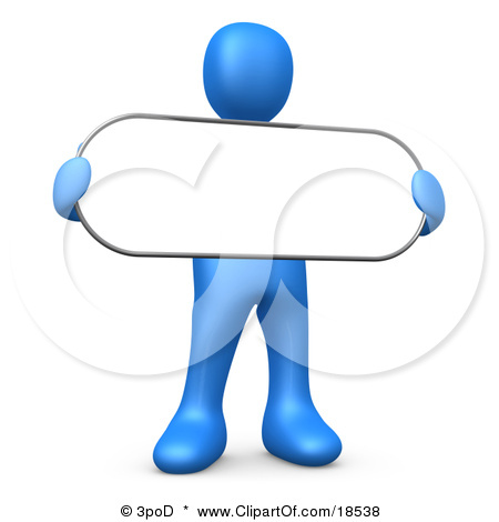 Clipart Illustration of a Blue Person Holding a Blank White Oval.