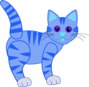 Blue Silhouette Cat Clipart.