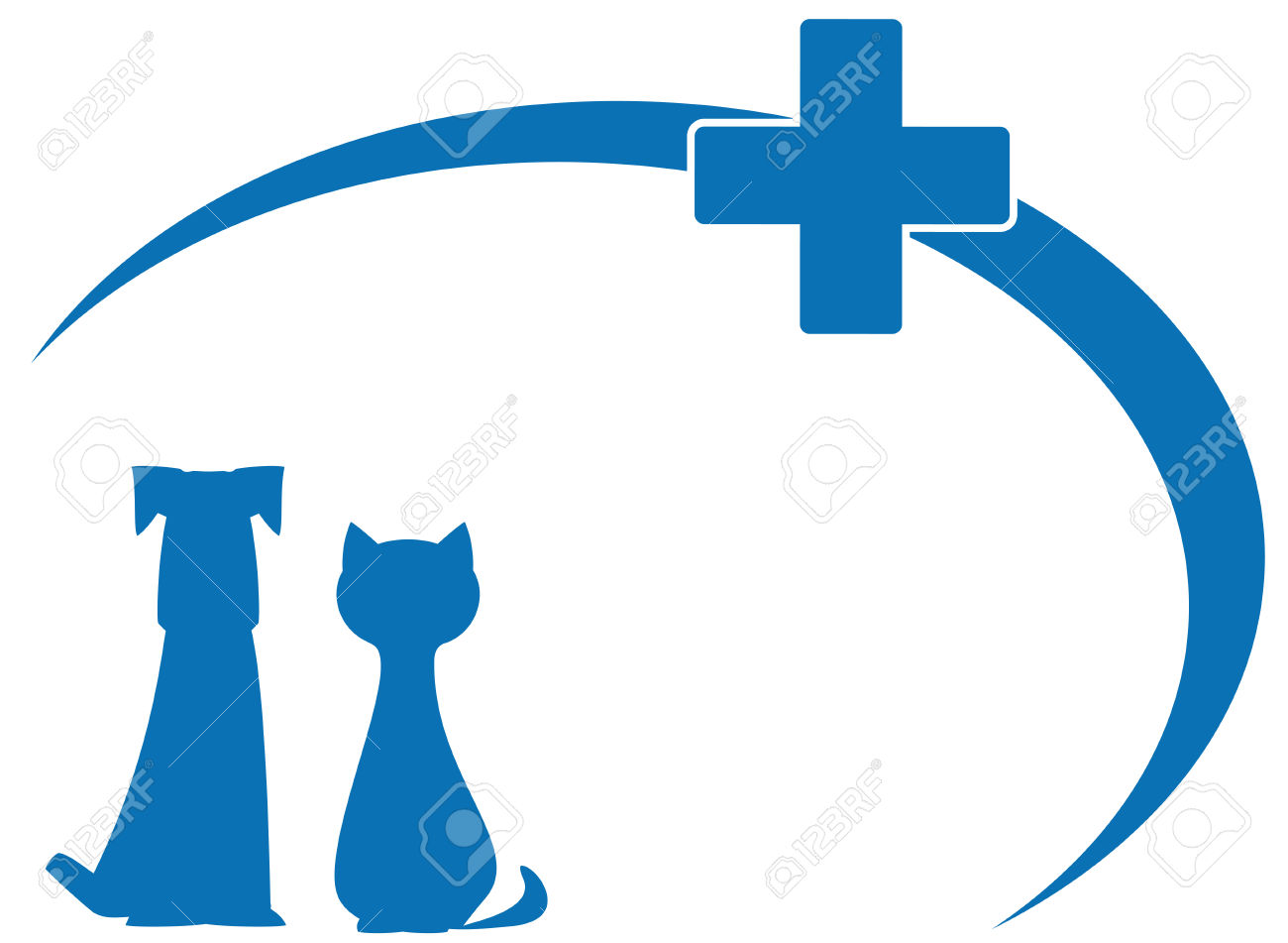 Blue Silhouette Dog And Cat On Veterinary Symbol Royalty Free.