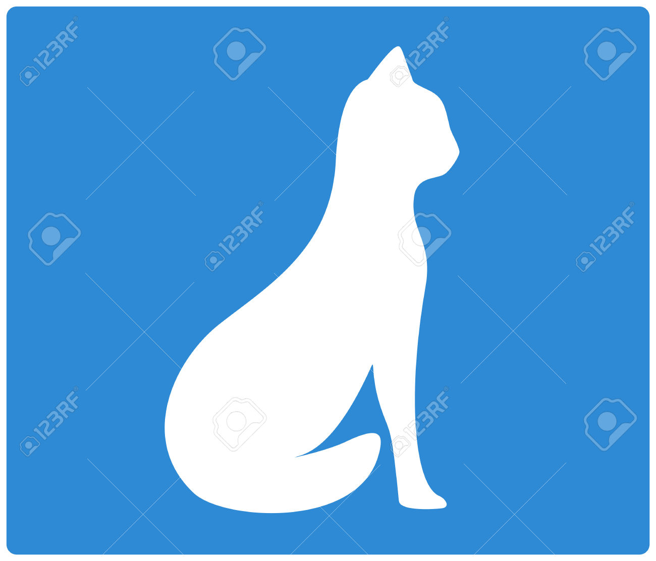 Blue Background With Sit Cat White Silhouette Royalty Free.