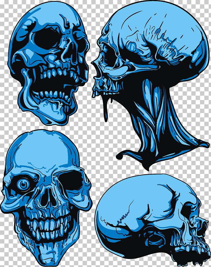 Skull Euclidean , Skull, blue skull illustration PNG clipart.