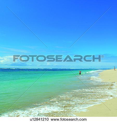 Stock Photography of Waves, Beach, Ocean, Blue sky, Sea, Seas.