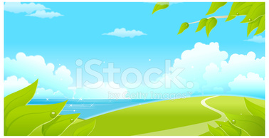 Green Landscape With Sea and Blue Sky stock vectors.