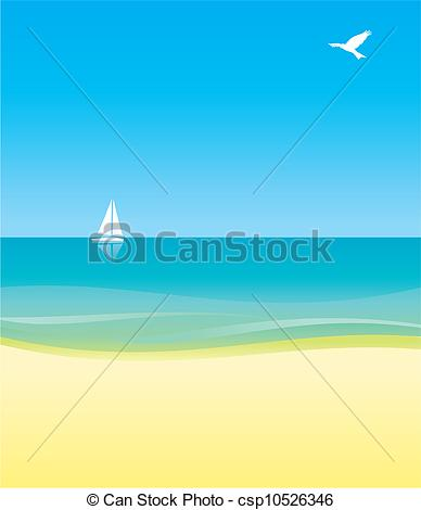 Drawing of white yacht in blue sea under blue sky background.