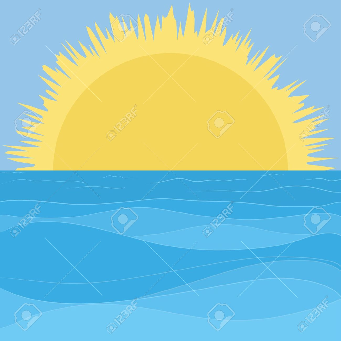 Blue sky ocean background free clipart.