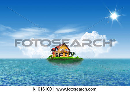 Clipart of House on green field landscape with blue sky and sea.