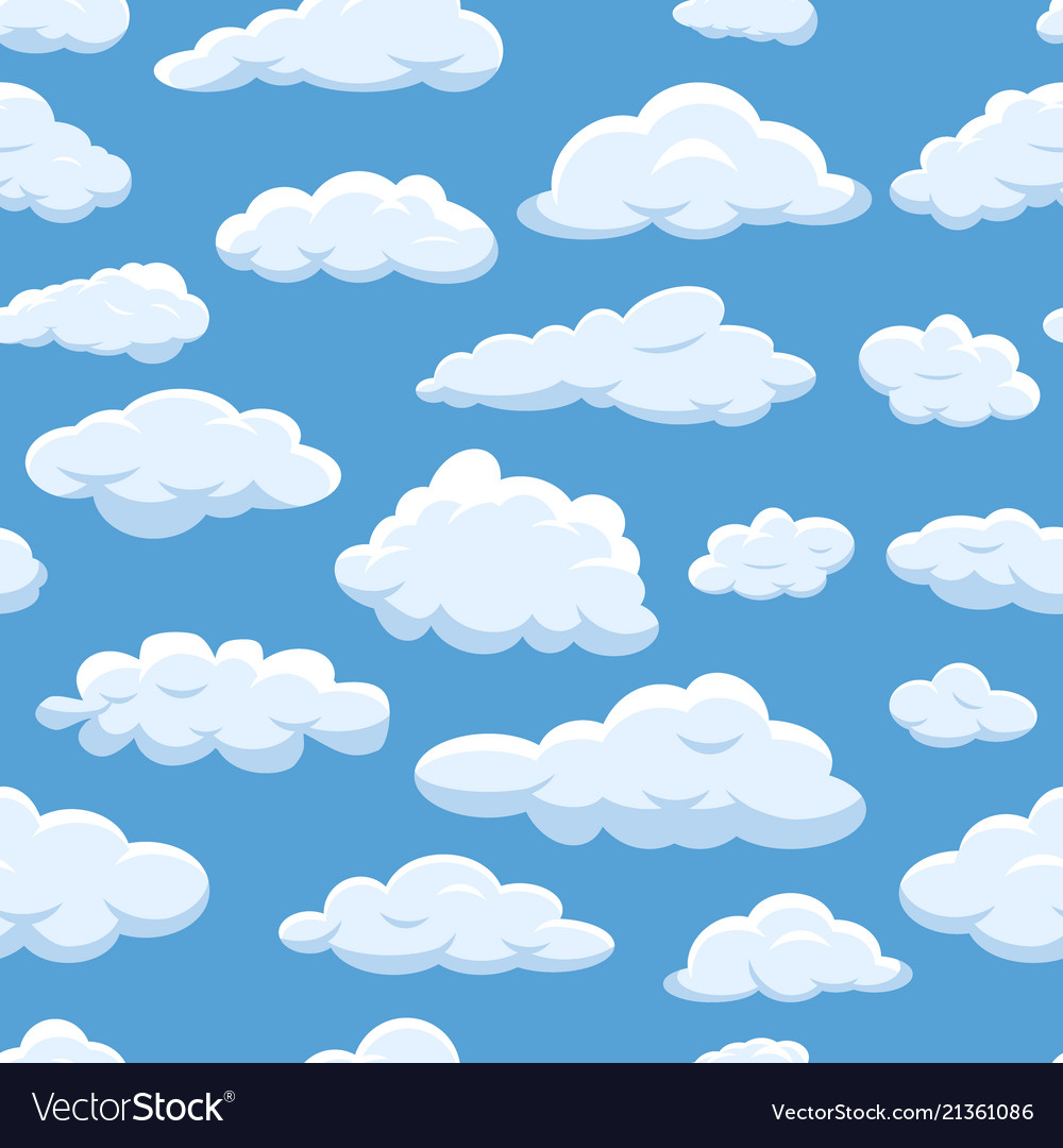 Clouds seamless pattern on blue sky background.