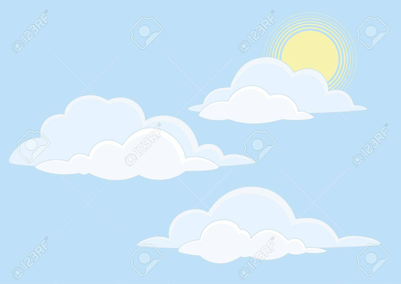 Cloudscape background, white clouds and sun on blue sky.